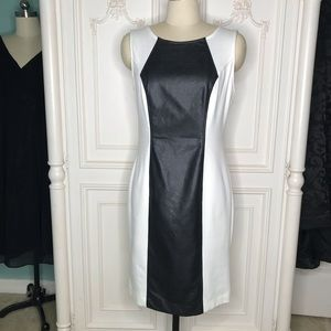 Eci Brand Soft White and Black Faux Leather Dress